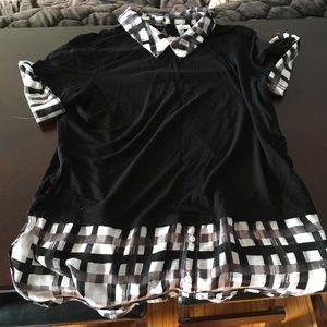 Elle black and plaid blouse